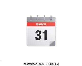 31 March calendar vector illustration on white background