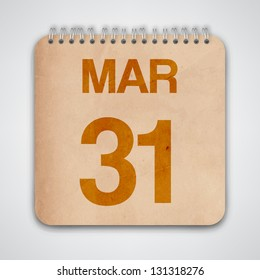 31 March on Old Notebook Vector
