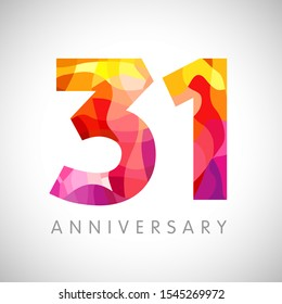 31 st anniversary numbers. 31 years old yellow coloured logotype. Age congrats, congratulation 3D idea. Isolated abstract graphic design template. Creative 1, 3 digits. Up to 31% percent off discount.