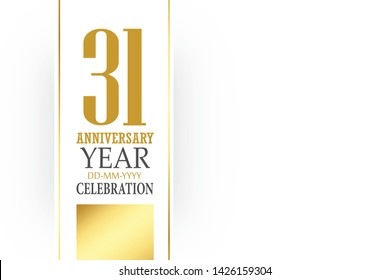 31 year anniversary, minimalist logo Box White Shape. greeting card. Birthday invitation. year sign. Gold space vector illustration on white background - Vector