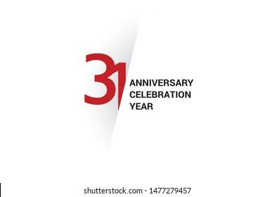 31 year anniversary, minimalist logo. 31 year jubilee, greeting card. Birthday invitation. year sign. Red space vector illustration on white background - Vector