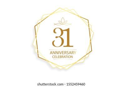 31 year anniversary, minimalist logo. Gold  vector illustration on white background - vector