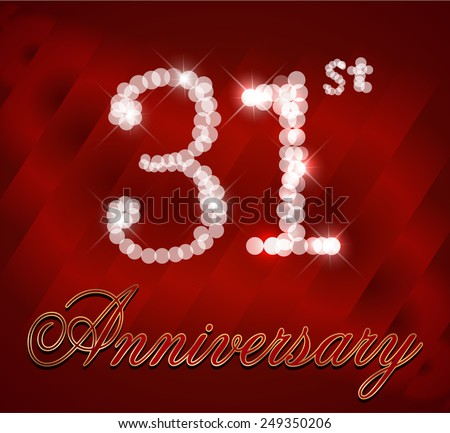 31 Year Happy Anniversary Card 31st Stock Vector Royalty Free