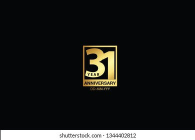 31 years anniversary celebration logotype. anniversary logo with golden and Spark light white color isolated on black background, vector design for celebration, invitation and greeting card-Vector