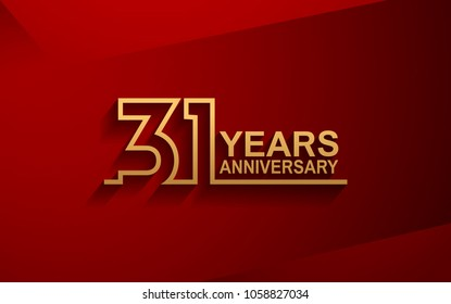 31 years anniversary line style design golden color with elegance red background for celebration
