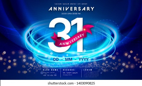 31 years anniversary logo template on dark blue Abstract futuristic space background. 31st modern technology design celebrating numbers with Hi-tech network digital technology concept design elements.