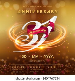 31 years anniversary logo template on golden Abstract futuristic space background. 31st modern technology design celebrating numbers with Hi-tech network digital technology concept design elements.
