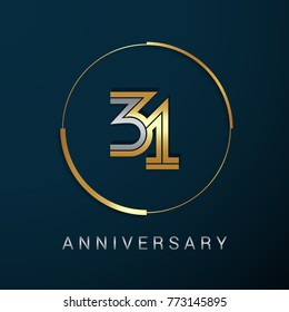 31 Years Anniversary Logotype with  Gold and Silver Multi Linear Number in a Golden Circle , Isolated on Dark Background