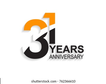 31 years anniversary simple design with white slash in orange and black number for celebration event