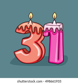 31st Birthday Candle Number Vector Design Template Elements For Your Celebration