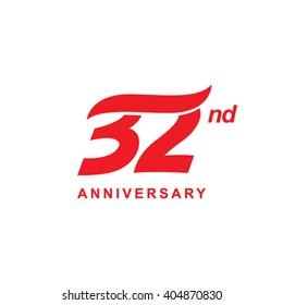 32 anniversary wave logo red