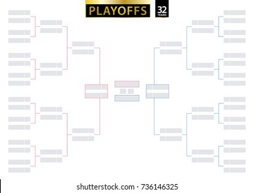 32 Team Single Elimination Bracket. Tournament Bracket for playoffs on white background. Size A2 ready for print. Vector Illustration.