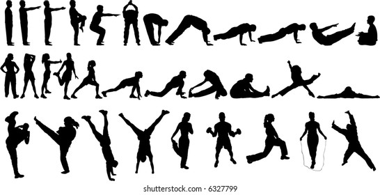 32 Vector Silhouettes of people Exercising