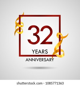 32 years anniversary with red number design inside red square and golden ribbon element, isolated on white background can be used as celebration card