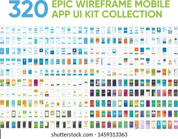 320 Epic Wireframe Mobile App UI Kit Screens Collection Set Prototype Template Design.