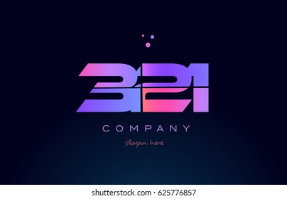 321 pink blue purple number digit numeral dots creative company logo vector icon design template