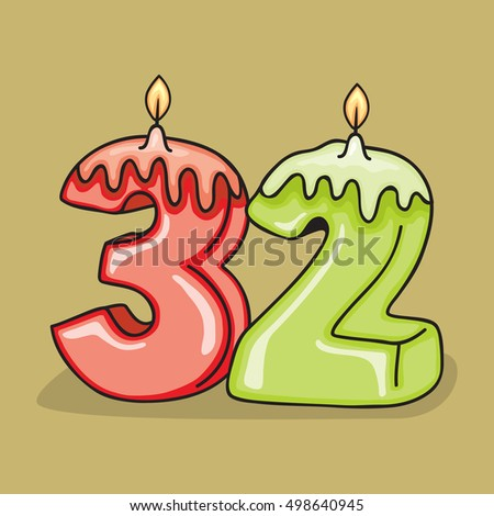 32nd Birthday Candle Number Vector Design Template Elements For Your Celebration