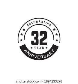 32nd year celebrating anniversary logo design template