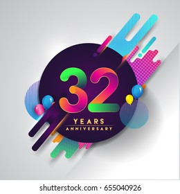 32nd years Anniversary logo with colorful abstract background, vector design template elements for invitation card and poster your thirty-two birthday celebration.