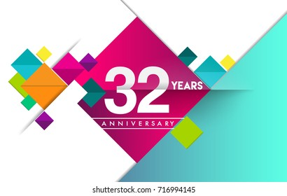 32nd years anniversary logo, vector design birthday celebration with colorful geometric isolated on white background.