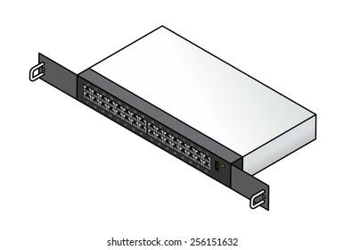 A 32-port Ethernet 1u rack mount network switch.