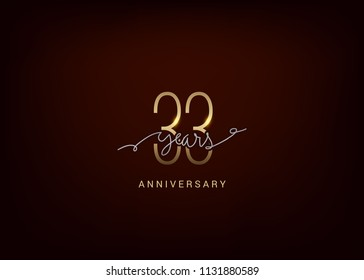 33 Anniversary elegant gold colored isolated on dark background, vector design for celebration, invitation, and greeting card