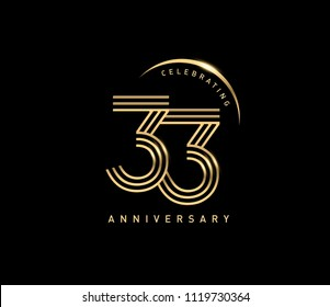 33 Anniversary gold numbers with golden ring. Celebrating anniversary event party template.