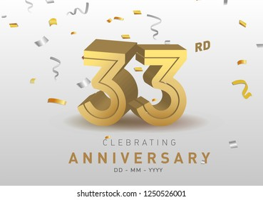 33 Anniversary gold numbers with golden confetti. Celebration 33rd anniversary event party template.