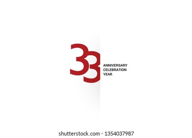 33 anniversary, minimalist logo. 33rd jubilee, greeting card. Birthday invitation. 33 year sign. Red space vector illustration on white background - Vector