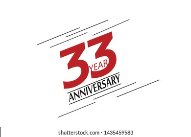 33 anniversary, minimalist logo, greeting card. Birthday invitation. 33 year sign. Red space vector illustration on white background - Vector