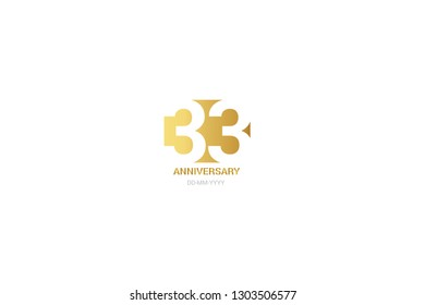 33 anniversary, minimalist logo. Tenth years, 33  jubilee, greeting card. Birthday invitation. 33 year sign. Gold space vector illustration on white background - Vector