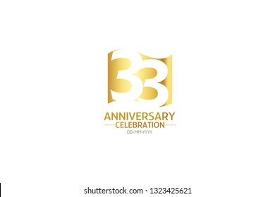 33 anniversary, minimalist logo years, jubilee, greeting card. Birthday invitation.Sign Flag Gold space vector illustration on white background - Vector