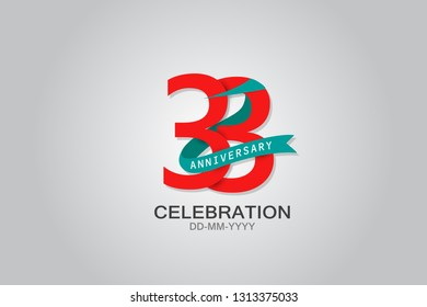 33 anniversary Red logo with Tosca ribbon. template design for web, game ,Creative poster, booklet, leaflet, flyer, magazine, invitation card - Vector