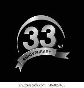 33 anniversary ring logo silver ribbon. vector celebration template