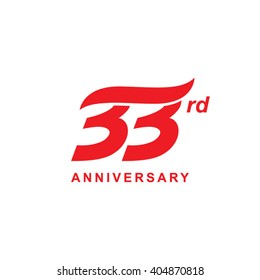 33 anniversary wave logo red