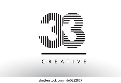 33 Black and White Number Logo Design with Vertical and Horizontal Lines.