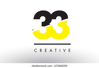 33 Black and Yellow Number Logo Design cut in half.