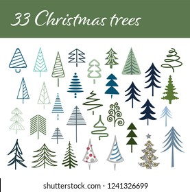 33 Christmas trees vector collection