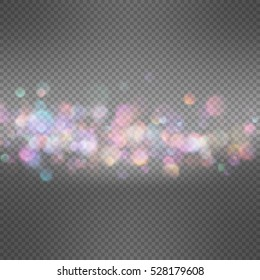 33 defocused bokeh lights on dark transparent background. Festive background for card, flyer, invitation, placard, voucher. EPS 10 vector file included