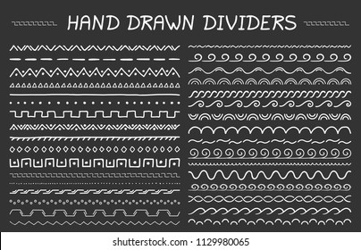 33 Hand drawn dividers, geomtric dividers and waves, vector eps10 illustration