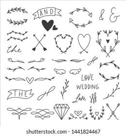 33 Hand Drawn Wedding Elements