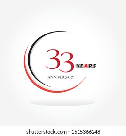 33 red anniversary number inside circle swoosh isolated on white background