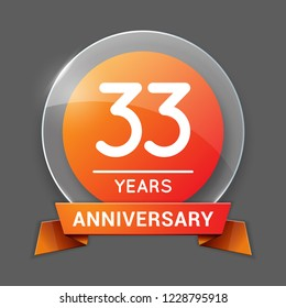 33 / Thirty Three Years Anniversary Logo with Glass Emblem Isolated. 33rd Celebration. Editable Vector Illustration.