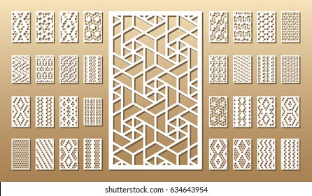 33 vector panels. Cutout silhouette with arabic (girih geometric)  pattern. A picture suitable for printing invitations, laser cutting (engraving) stencil, wood and metal decorations.