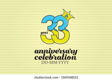 33 year anniversary cartoon, sweet style, candy look, for background - vector