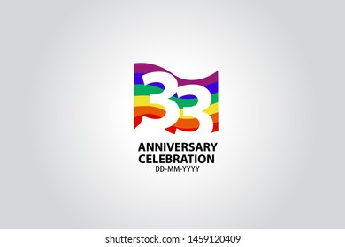 33 year anniversary celebration logotype with white number Emboss Style isolated on LGBT Colorful Flag on white grey background for invitation card, banner or flyer - vector