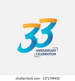 33 Year Anniversary Celebration Vector Template Design Illustration