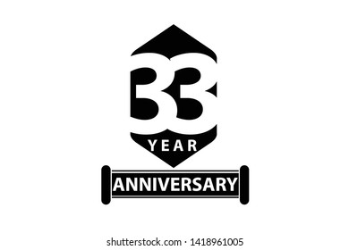 33 year anniversary, minimalist logo years, jubilee, greeting card. invitation. Sign Ribbon All Black space vector illustration on White background - Vector