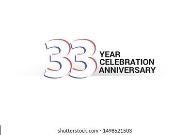 33 year anniversary, minimalist logo years, jubilee, greeting card. invitation. Sign Blue & Red Colors vector illustration on White background - Vector