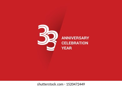 33 year anniversary, minimalist year logo jubilee, greeting card. Birthday invitation. White space vector illustration on Red background - Vector